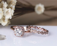 Charles & Colvard 6mm FB Cushion Moissanite Ring Set Solid 14K Rose Gold Engagement Ring Set