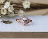 Pear Cut 5x7 Morganite Ring Solid 14K Rose Gold Morganite Engagement Ring Wedding Ring