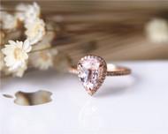 Stackable Ring Pear Pink Morganite Ring Solid 14K Rose Gold Ring Morganite Engagement Ring