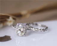 Forever Brilliant Charles & Colvard 7x9mm Oval Brilliant Moissanite Ring Set Wedding Ring Solid 14K White Gold