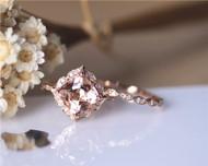 Amazing 8mm Cushion Morganite Ring Set Solid 14K Rose Gold Ring Set Engagement Ring Set