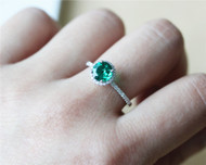 Round Cut Ring Solid 14K White Gold Wedding Ring Emerald Engagement Ring Promise Ring