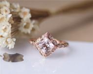 Art Deco 7mm Princess Vintage Floral Morganite Engagement Ring Solid 14K Rose gold Wedding Ring