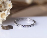 Natural Blue Sapphire Full Eternity Wedding Band diamonds Solid 14K White Gold Engagement Band