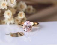 Oval Cut Morganite Engagement Ring Solid 14KYellow Gold Morganite Ring Wedding Ring