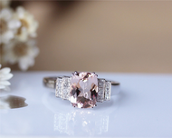 7x9mm Cushion Rose Gold Morganite Ring Solid 14K Rose Gold Morganite Engagement Ring