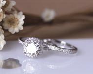 7.5mm Round Moissanite Ring Set Charles & Colvard Moissanite Engagement Ring Set Solid 14K White Gold