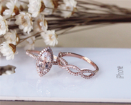Marquise Morganite Ring Set Solid 14K Rose Gold  Morganite Engagement Ring Set Wedding Ring