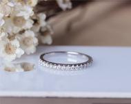 Natural Diamond Wedding Band Solid 14K White Gold Diamond Engagement Band Half Eternity Ring