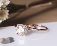 8mm Cushion Charles & Colvard Moissanite Engagement Ring Set Solid 14K Rose Gold Ring Set
