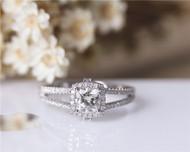 1.1ct 6mm Cushion Moissanite Engagement Ring Solid 14K White Gold Moissanite Ring Wedding Ring