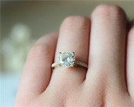 1.5ct Charles & Colvard Round Cut Moissanite Engagement Ring Solid 14K Yellow Gold Moissanite Ring