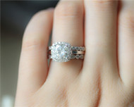 1.7ct Moissanite Ring Set 3 Rings Set Solid 14K White Gold Wedding Ring Set Engagement Ring Set