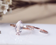 Unique Marquise Morganite Ring Set Solid 14K Rose Gold  Morganite Engagement Ring Set