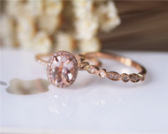 Oval Pink Morgannite Ring Set VS Morganite Diamonds Ring Set Wedding Ring Set Solid 14K Rose Gold