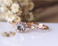 Christmas Discount! 7mm Round Cut Aquamarine Ring Set Solid 14K Rose Gold Engagement / Wedding