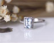 Birthstone Birthday Gift 5x7mm Aquamarine Ring Solid 14K White Gold Aquamarine Engagement Ring