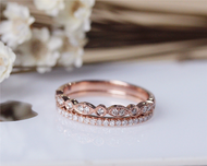 Diamond Band Set Wedding Ring Set Solid 14K Rose Gold Diamond Engagement Ring Set Half Eternity Stackable Matching Band