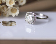 1.6ct Cushion Brilliant Moissanite Engagement Ring Solid 14K White Gold Pave Diamonds Moissanite Ring