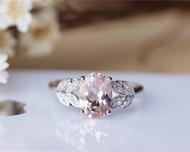 7x9mm Oval Cut Morganite Ring Solid 14K Rose Gold Morganite Engagement Ring Wedding Ring