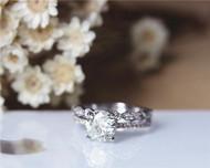 1ct Forever One Round Moissanite Engagement Ring Set Solid 14K White Gold Ring Set Wedding Ring Set