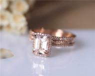 3PCS ring set Emerald Cut 14K Rose Gold Morganite Ring Set Morganite Engagement Ring Set Wedding Ring Set