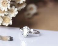 1.5ct 6x9 mm Pear Cut Moissanite Ring Solid 14K White Gold Moissanite Engagement Ring