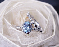 Solid 14K White Gold Aquamarine Engagement Ring Set  6x8 mm Oval Vintage Floral Aquamarine Ring Set