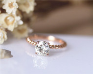 7mm Charles & Colvard Moissanite Engagement Ring Solid 14K Rose Gold Moissanite Ring Wedding Ring