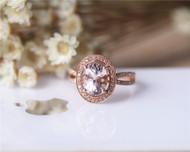 Art Deco Unique 7x9mm Oval Morganite Ring Solid 14K Rose Gold Morganite Engagement Ring