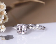 Perfect Bridal Set! Solid 14K White Gold Ring Set Natural 8mm VS Cushion Morganite Engagament Ring Set