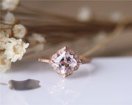 7mm Princess Vintage Floral Morganite Engagement Ring Solid 14K Rose gold Wedding Ring Anniversary Ring