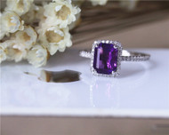 Birthday Gift Halo Amethyst Ring 6x8mm Emerald Cut Diamond Ring Solid 14K White Gold Engagement Ring