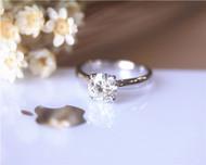 7MM Charles and Colvard Moissanite Engagement Ring Solid 14K White Gold Moissanite Ring