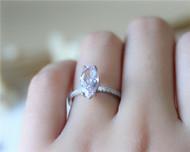 1.2ct Marquise Morganite Ring Morganite 14K White Gold Ring Engagement Ring Solid Wedding Ring