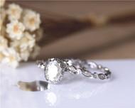 Vintage Ring Set! 1.5ct Moissanite Ring Set Solid 14K White Gold Engagement Ring Set Wedding Ring Set