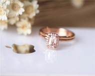 2PCS Emerald Cut Morganite Ring Set Solid 14K Rose Gold Ring Set Engagement Ring Set Diamond Ring Set