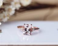 7x9mm Solid 14K Rose Gold Morganite Engagement Ring Fancy Pink Cushion Cut Morganite Ring Wedding Ring