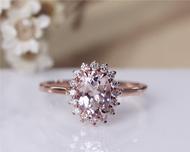 6x8mm Vintage Morganite Ring 14K Rose Gold Pave Milgrain Diamonds Morganite Engagement Ring