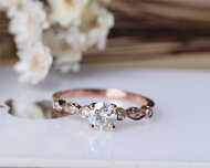 5mm Moissanite Engagement Ring Solid 14K Rose Gold Wedding Moissanite Ring Anniversary Ring Bridal Ring