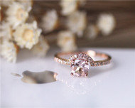 14K Rose Gold Ring Natural Pink VS Round Morganite Ring Engagement Ring Wedding Ring