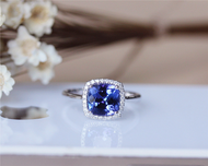 8mm Cushion Tanzanite Ring Solid 14K White Gold Wedding RingTanzanite Engagement Ring