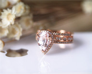 3PCS Wedding Ring Set Solid 14K Rose Gold Ring Set Pear Morganite Ring Set Diamond Ring Set
