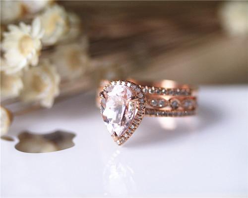 3PCS Wedding Ring Set Solid 14K Rose Gold Ring Set Pear Morganite