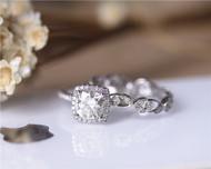 1.32ct Cushion Moissanite Rings Set! Charles & Colvard Moissanite Wedding Ring Set Solid 14K White Gold