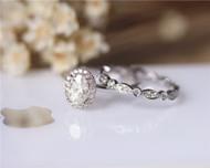 Charles&Colvard 1ct 5x7mm Oval Moissanite Wedding Ring Set Solid 14K White Gold Ring Set
