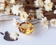 Oval Natural Citrine Pendant Solid 14K Yellow Gold Luxurious Pendant Jewlery Citrine Pendant Necklace( link ONLY for pendant)