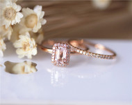 4x6mm Morganite Ring Set Solid 14K Rose Gold Ring Set Engagement Ring Set Diamond Ring Set