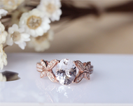 Pink 7x9mm Solid 14K Rose Gold Oval Morganite Engagement Ring Wedding Ring