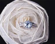 Valentine's Day Discount! 7mm Round Cut Aquamarine Ring Set Solid 14K White Gold Engagement / Wedding